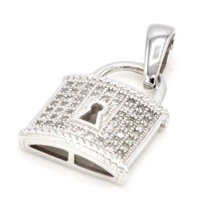 0.125 CTTW 10k White Gold Diamond Key Lock Pendant